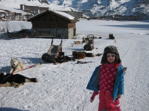 Husky sledding in Tignes