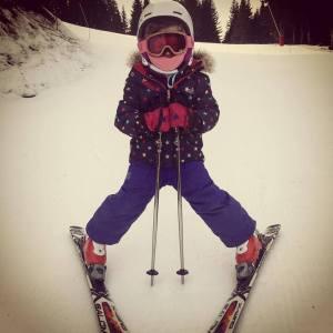 Lola skiing